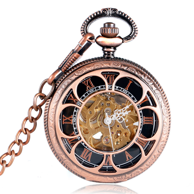 New Self-wind Automatic Mechanical Pocket Watch Rose Gold Hollow Skeleton Fashion Fob Watches Relogio De Bolso