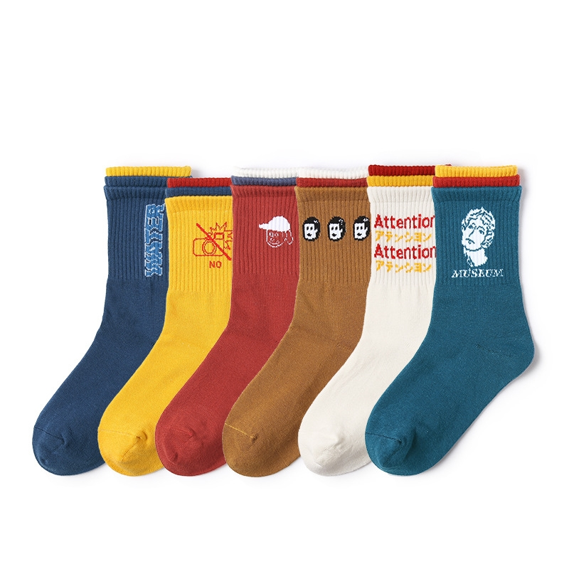 New Women Socks 1 Pair Long Cotton Color Patchwork Letter Autumn Casual Fashion Socks Novelty Fashion Lady Happy Socks