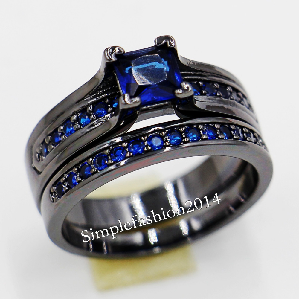 popular black and blue wedding ring sets-buy cheap black and blue