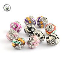10pcs Handmade Indonesia Beads Jewelry Necklaces Bracelets DIY Making Supplies with Rhinestones Alloy Cores Round Mixed Color(China)