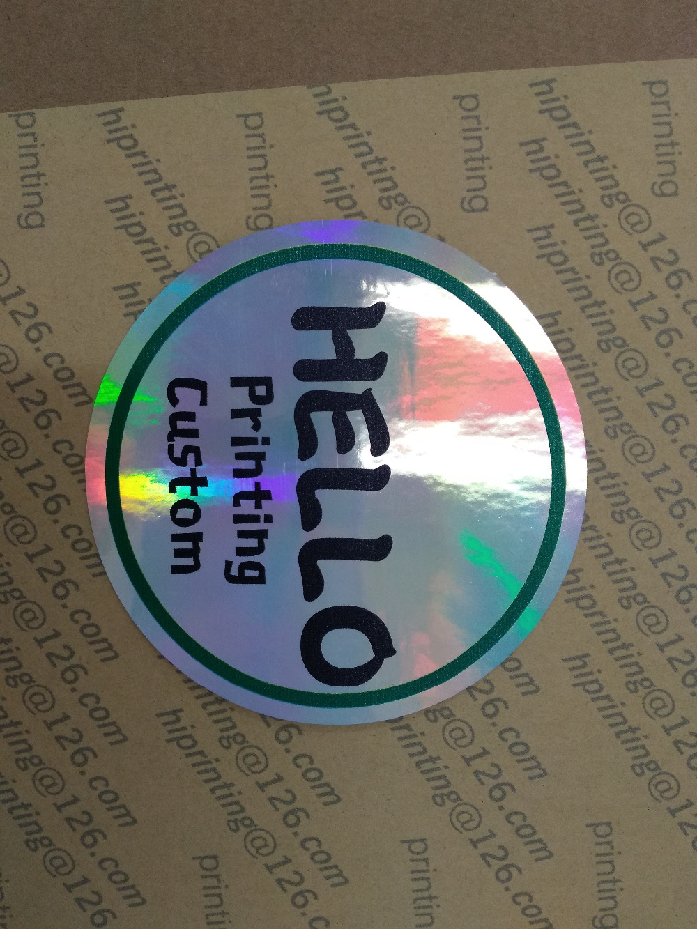 laser silver sticker black printing custom Custom Self Adhesive Sliver Aluminium Foil Laser Film Holographic Logo