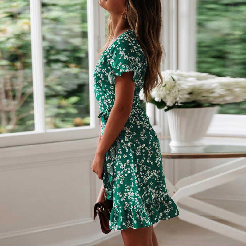 2019 Boho Летнее платье с цветочным принтом, женское шифоновое платье с оборками, сексуальное платье с v-образным вырезом и коротким рукавом, мини-платья пляжный отдых, сарафан