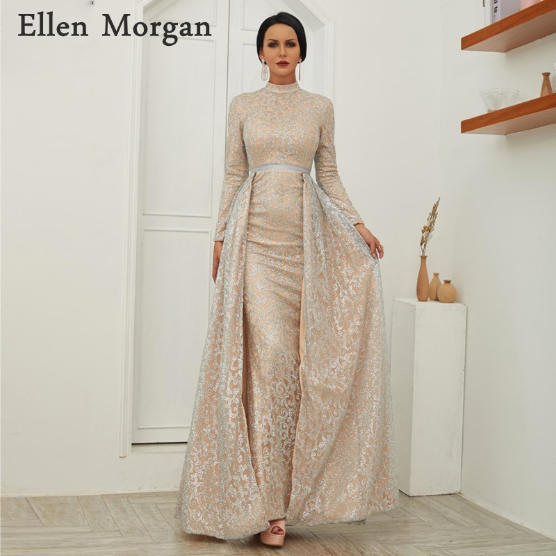 Arabic Muslim Moroccan Mermaid   Evening     Dresses   Party Elegant for Women Long Sleeves High Neck Detachable Skirt Formal Gowns 2019