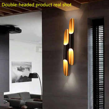 Vintage Wall Light Creative Bamboo Shaped Personality Bar Wall Lamp Cafe Dinning Room Bedroom Bedside Beveled metal Wall Lamp