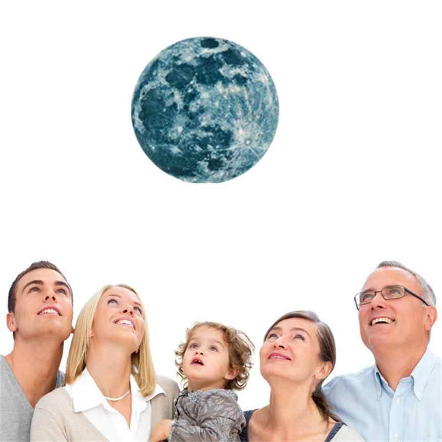 20cm 3D גדול ירח ניאון קיר מדבקה נשלף זוהר בחושך מדבקה