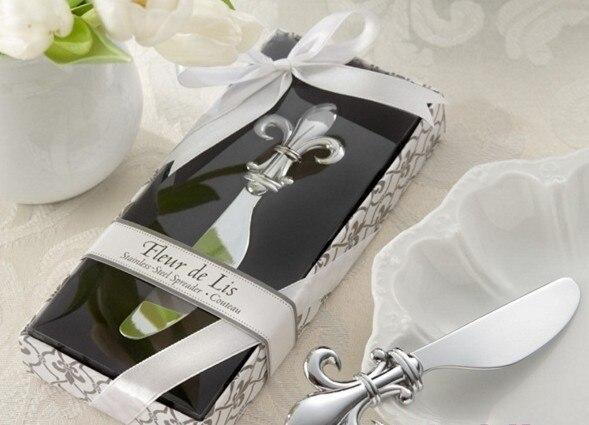 Regalo y regalos del favor de la boda para el huésped-fleur de lis Chrome  Spreader Boda nupcial ducha favor recuerdo 20 unids lote 53755a35d3d