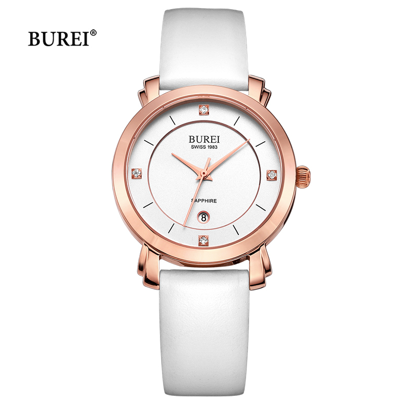 BUREI Women Gold Silver Watch Waterproof Leather Bracelet Ladies Diamond Quartz Wrist Watch Calendar Clock Saat Relogio Feminino casima women watches waterproof fashion ladies leather rhinestone gold quartz wrist watch clock woman 2018 saat relogio feminino