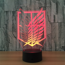 Tobyfancy Attack on Titan Figure Visual Illusion LED Table Lamp Attack on Titan Flag Arylic Light Action Figure 7 Colorful  Lamp