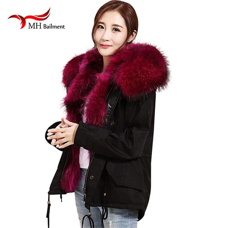 Зимнее пальто Для женщин енота меховой воротник куртка с капюшоном с натуральным кроличьим Мех животных Пальто для будущих мам толстые теп