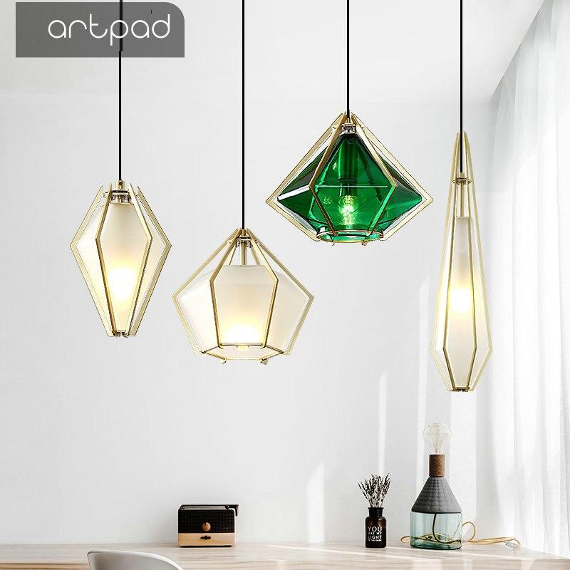 Işıklar ve Aydınlatma'ten Kolye ışıkları'de Artpad Nordic elmas buzlu cam kolye ışık lamba için otel Cafe parlaklık basit altın yemek odası restoran E14 aydınlatma title=