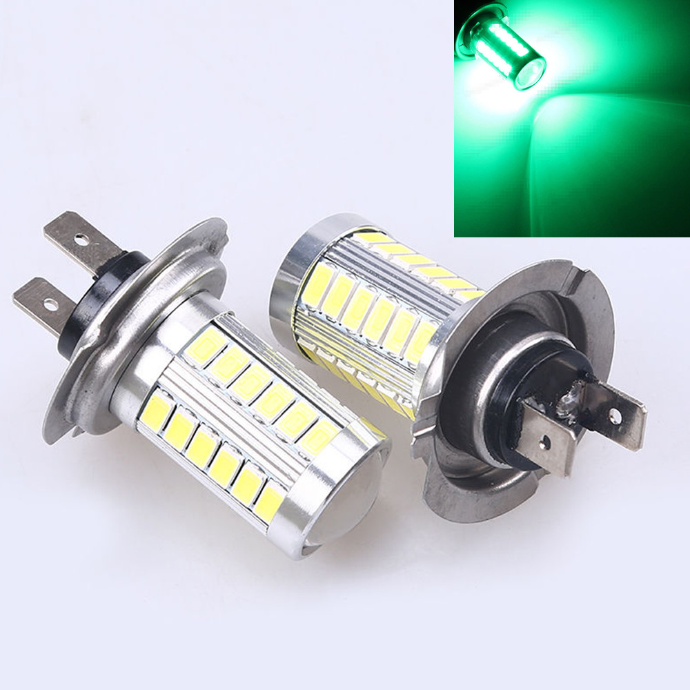 CYAN SOIL BAY 2X H7 5630 33SMD 33-LED 12V Super Bright Green Auto Car Fog Bulb Driving Light Running Lamp new arrival a pair 10w pure white 5630 3 smd led eagle eye lamp car back up daytime running fog light bulb 120lumen 18mm dc12v