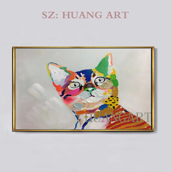 """Animal """"Colorful cat""""100% pure hand-painted abstract oil paintings decoration specials Cat  oil painting welcome custom"""