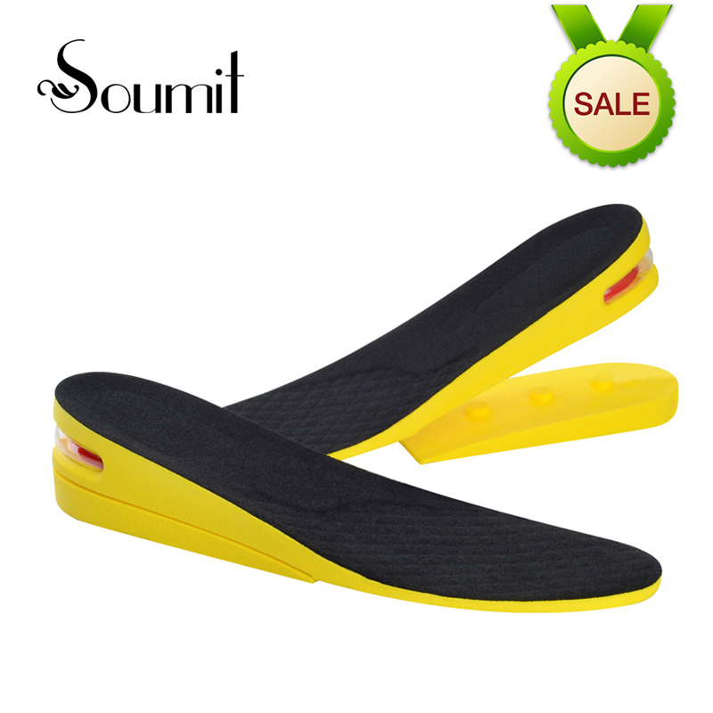 Soumit 2-Layer Comfort Breathable Invisible Height Increase Shoes Insoles for Men Women Shock Absorbing Lift Taller Insoles Pads soumit add 2cm heights wearing socks massaging insole ergonomic height increasing breathable comfort insoles for men and women