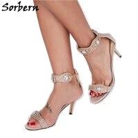 Sorbern со стразами на высоком каблуке сандалии с открытым носком один ремень Летняя женская обувь цепь на заказ стилеты большой размер 10 санда