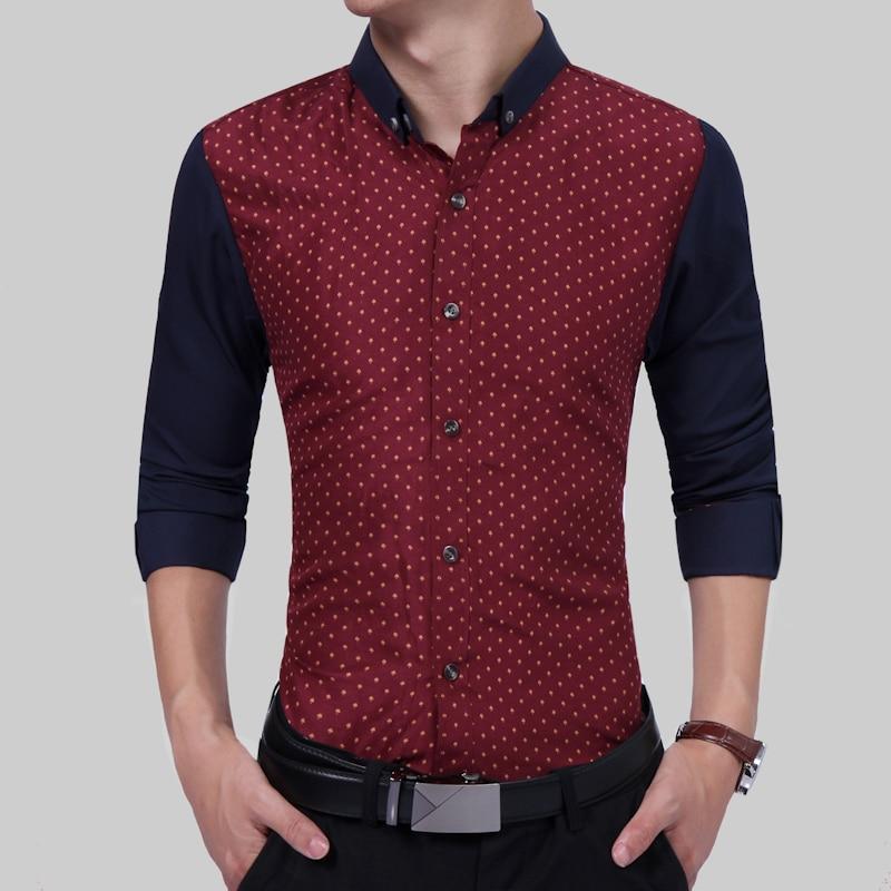 Brand 2018 Fashion Male Shirt Long-Sleeves Tops Small Mushroom Print Casual Shirt Mens Dress Shirts Slim Men Shirt