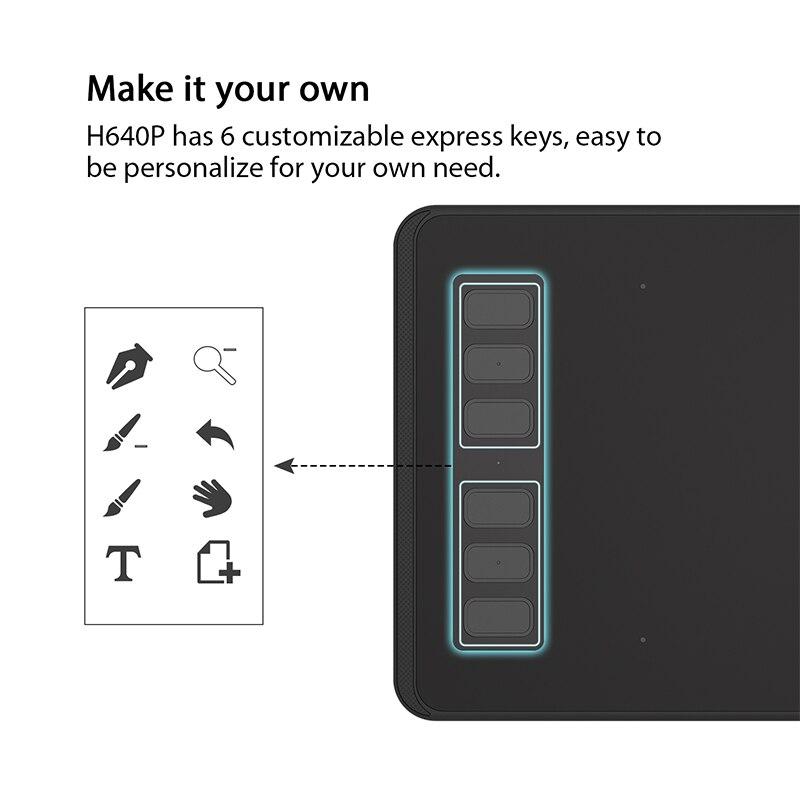 HUION H640P Pouces Numérique Stylo Tablette Graphique Dessin Comprimés 8192 Niveaux de Pression Passive Stylo avec Batterie-livraison pour OSU jeu - 3