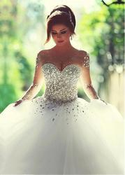Бальное Платье, Свадебные платья 2020, элегантные свадебные платья с кристаллами и бисером, милые свадебные платья с длинным рукавом, Robe de Marige