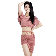2 Pcs Belly Dance Costume New Women Practice Suit Top Long Skirt Sexy Short Sleeve Dancing Dress Performance dress Clothes
