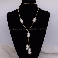 7 Pearls Necklace Natural 8 Shape Pearl Beads Pearl Necklace Gems For Women Stitching Necklace Elegant