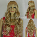 59823>>>new women gold yellow blonde brown  wavy full synthetic wig cap cosplay