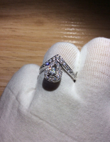 925 Sterling Silver Ring Female Pigeon Eggs Pear Shaped Heart Shaped Single Row Diamond Wedding Ring