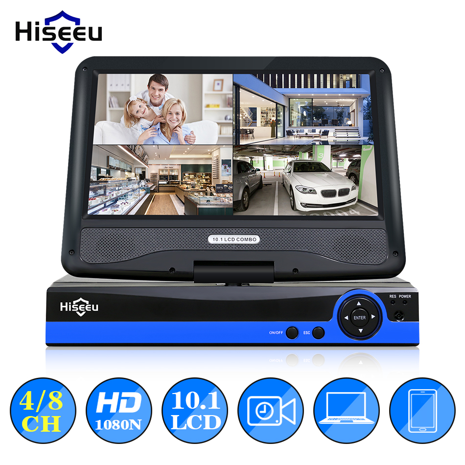 Hiseeu CCTV 4/8 CH 5IN1 1080N Digital Video Recorder 10.1 LCD Screen AHD/CVI/TVI/analog/IP Home Security System P2P H.264
