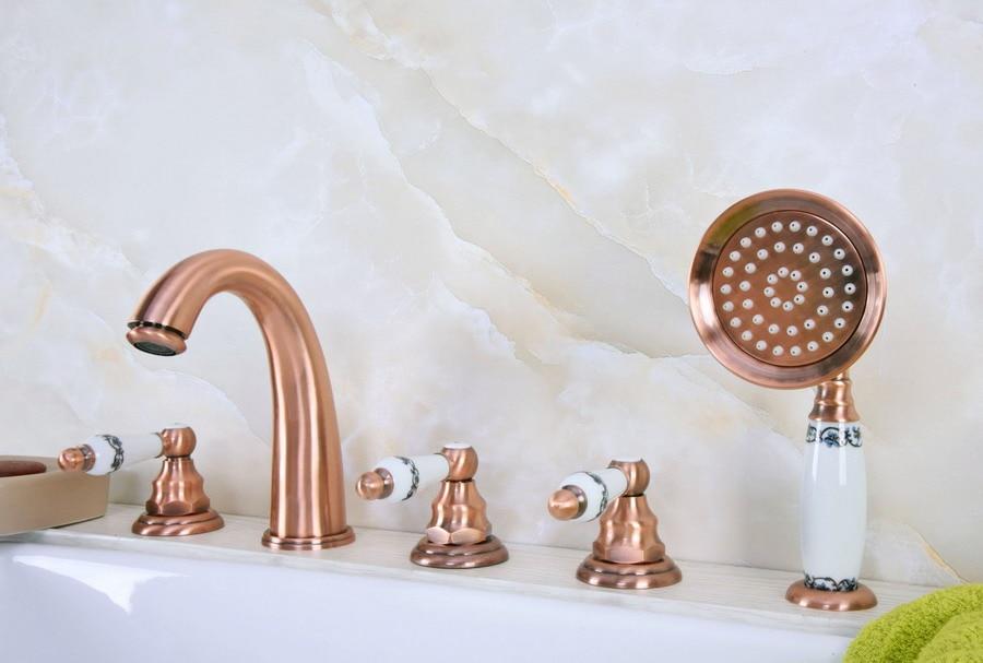 Antique Red Copper Brass Deck 5 Holes Bathtub Mixer Faucet Handheld Shower Widespread Bathroom Faucet Set Basin Water Tap atf233Antique Red Copper Brass Deck 5 Holes Bathtub Mixer Faucet Handheld Shower Widespread Bathroom Faucet Set Basin Water Tap atf233