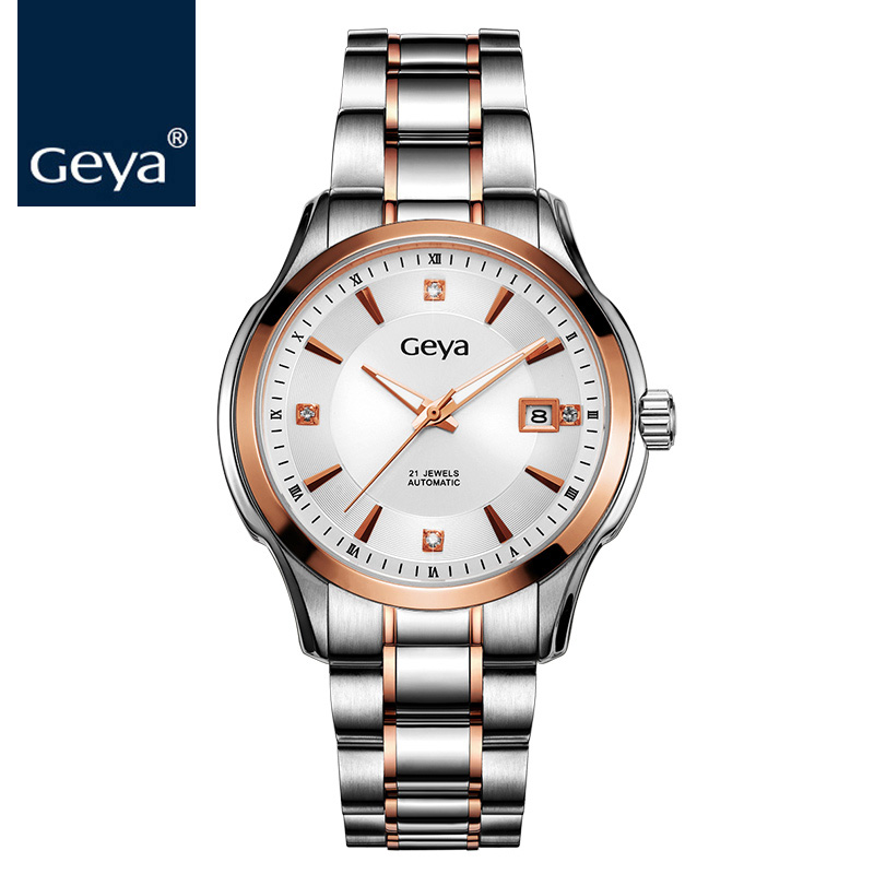 Geya 2018 New Style Fashion Watch Water-Resistant 50 Meters Sapphire Crystal Automatic Mechanical Men Business Watch