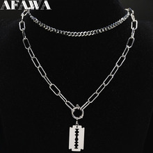 Punk Blade Stainless Steel Chain Necklace Women Silver Color Layered Choker Necklace Jewelry joyeria acero inoxidable mujer N19 цена
