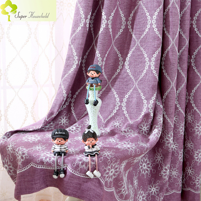 American Purple/ Green Blackout Curtains For Living Room/ For Bedroom Faux  Linen Embroidered Voileu0026Cloth