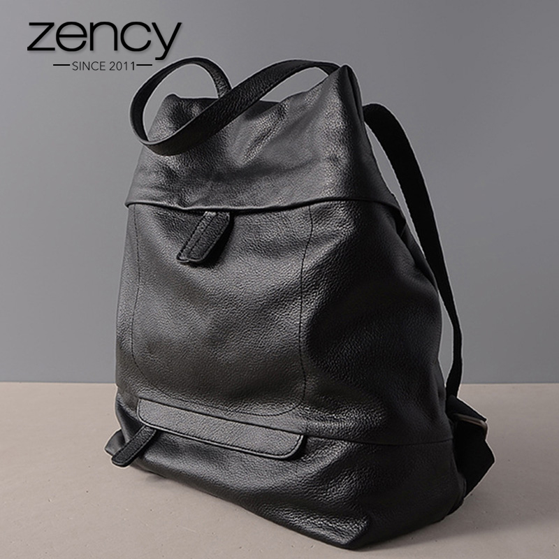 Zency Vintage Mochila De mujer 100% de cuero Natural diario bolsa de viaje Casual bolso de escuela para niñas adolescentes moda señora mochila grande-in Mochilas from Maletas y bolsas    1