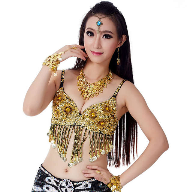 fdfacc0252 placeholder Sexy Flower Sequin Beaded Belly Dancer Bra Women Girls Tassel  Costume Top Festival Dancing Outfit 34