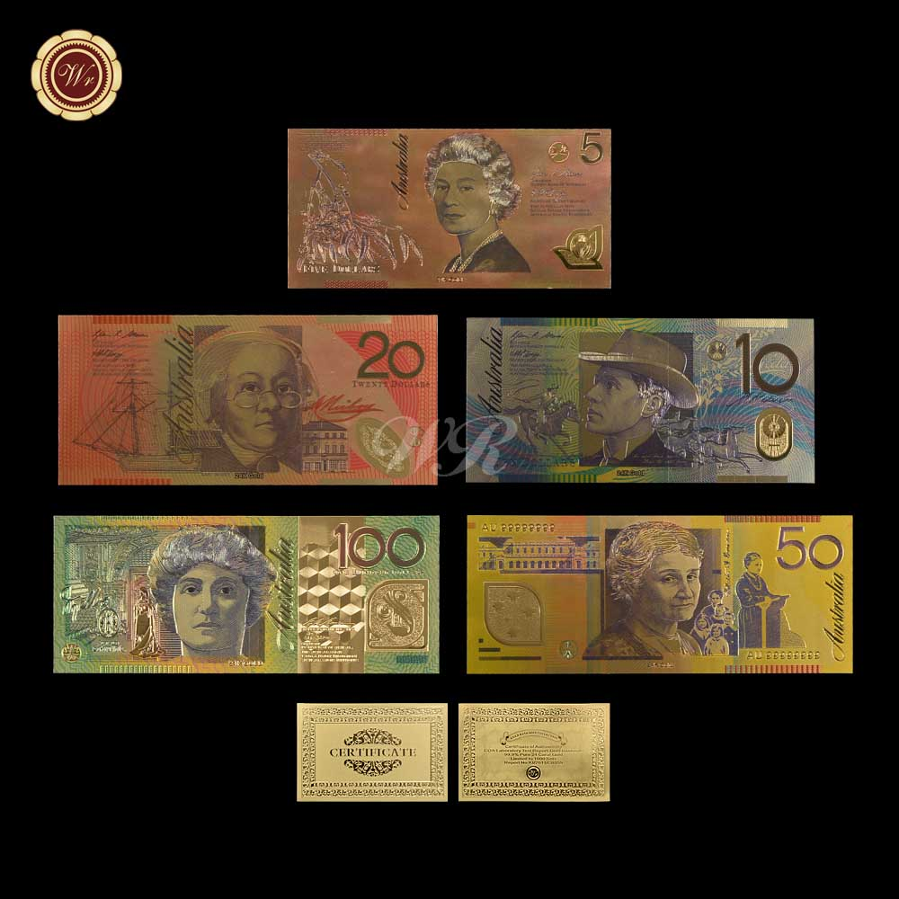 New Products Colorful Australia Gold Banknote New AUD 5 10 20 50 100 Banknote Set 999.9  ...