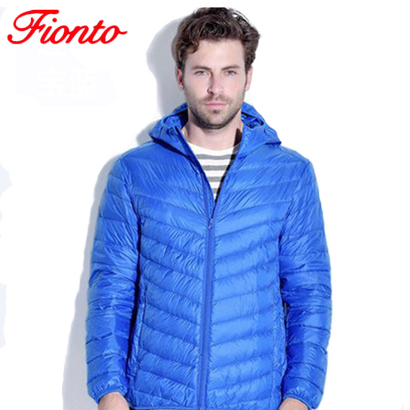 2017 New Casual Winter Duck Down Feather Ultralight Short Jacket Men Casual Hood Slim Solid Warm Cotton Down Coat Overcoat A907
