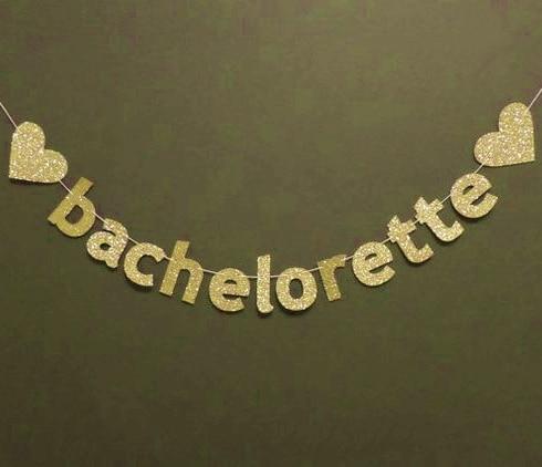 Arany csillogó Bachelorette Banner szívvel Photo Prop Háttérkép - Ünnepi és party kellékek