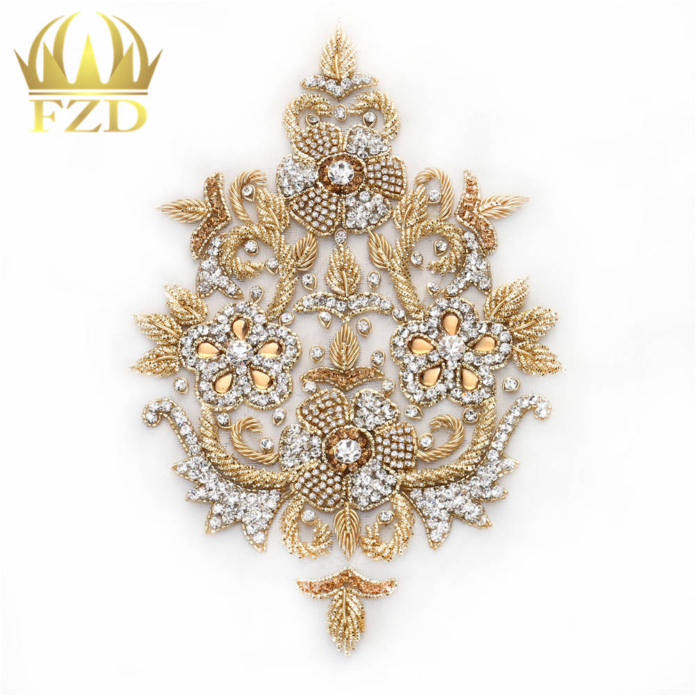 1 piece Combination Handmade Beaded Crystal Rhinestone Patches for Wedding Dress DIY Bridal Waist Decoration With mesh