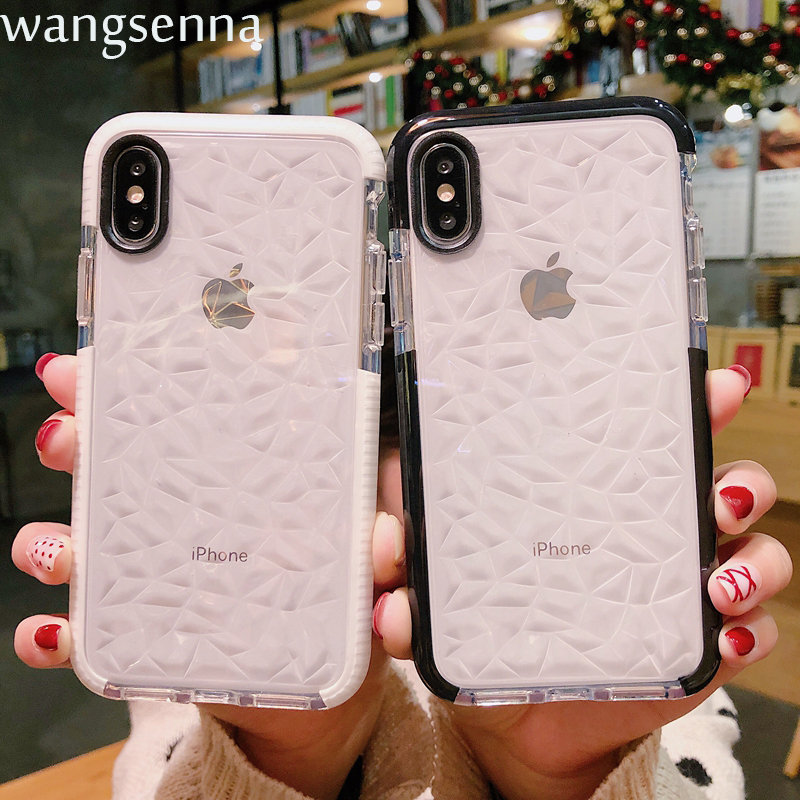 Shockproof Transparent Diamond Texture Grid Case for iPhone XS Max XR X 8 7 5 6 S Plus Silicone Crystal Slim For iPhone X Cover