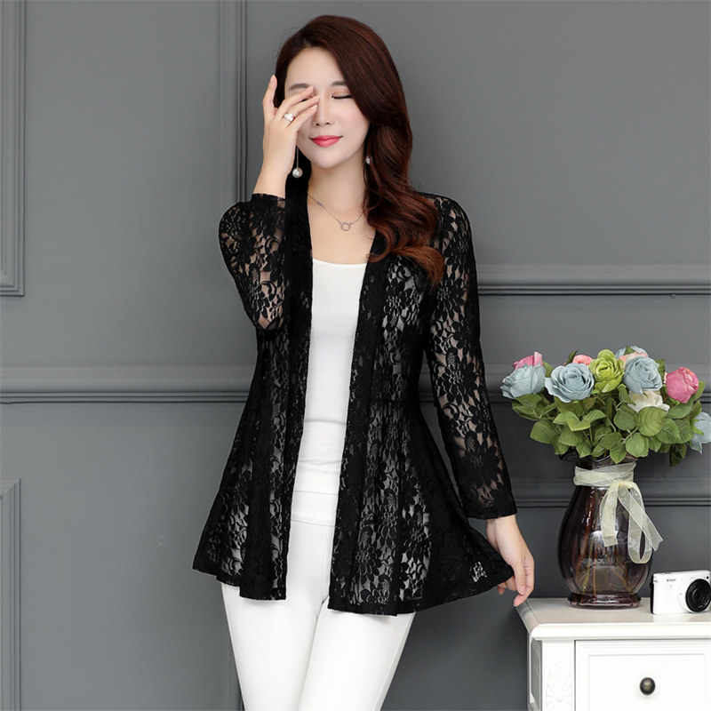 a0de9d552332 ... Long Women Lace Coat Cardigan Summer Plus Size Pink Net Yarn Hollow Out  Sun Clothes Shawl ...