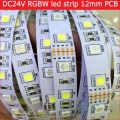 DC24V RGBW led strip light 5050 SMD 12mm PCB 5M 60leds/m led flexible tape rope stripe light RGBWW RGB warm white Newest