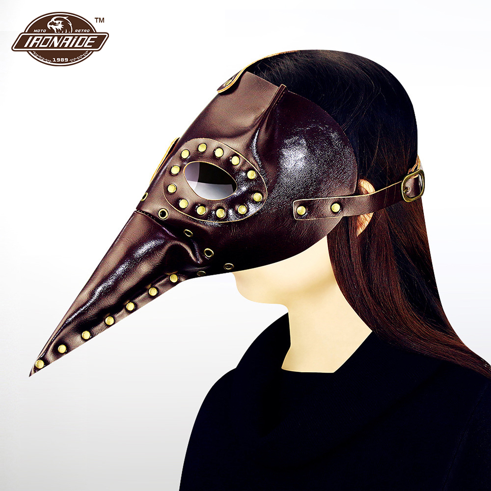 Windproof Motorcycle Face Mask Balaclava Motorcycle Steampunk Mask Locomotive Rivet Mask Halloween Face Shield halloween natural rubber bald ghost mask red white