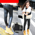new Kids PU leather pants girls leggings warm winter trousers children clothing  Wholesale 2-7 year