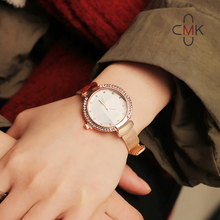 2018 CMK New Arrival Rose Gold Slim Mesh Strap Women Watch Rhinestone Case Elegant Fashion Ladies Quartz relogio feminino