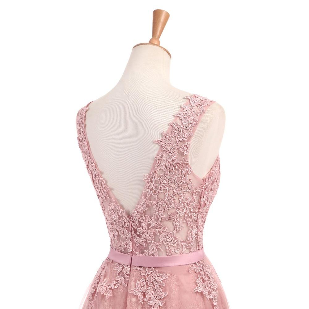 Dusty Rose Elegant Long Evening Dresses 2017 A-Line Lace Appliqued - Särskilda tillfällen klänningar - Foto 6