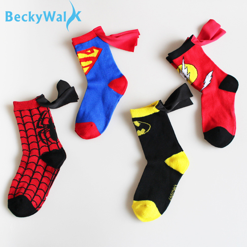 3-6t Boys Sport Socks Cotton Kids Socks Fashion Spiderman Superman Design Children's Football Basketball Socks Cso207