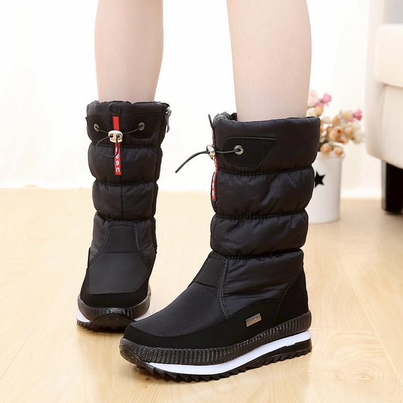 New 2018 women's boots platform winter shoes thick plush