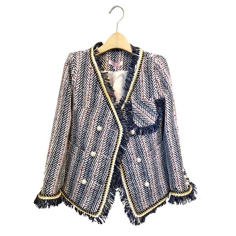 Laine Outwear Manches Élégantes Gland Dames Manteau Slim À Décontracté De 1 2 Bureau 2019 Nouveau Veste Femmes Automne Mode Tweed Longues Hiver a6XUv6Hfq