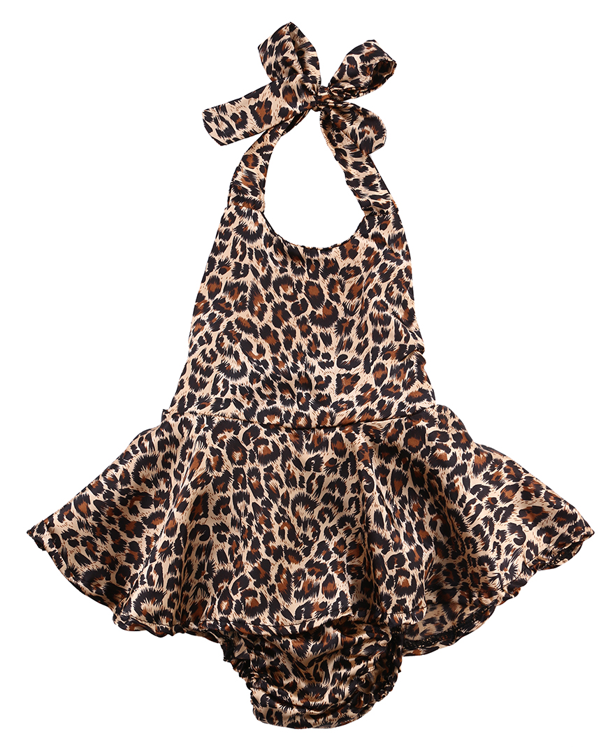 Newborn Infant Baby Girls Leopard Sleeveless Belted Romper Dress Cotton Jumpsuit Outfits Sunsuit Clothes