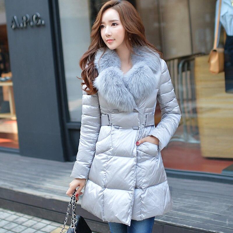 down jacket original brand 2017 new winter long warm thick coat luxury real fox fur collar light gray down coat big size