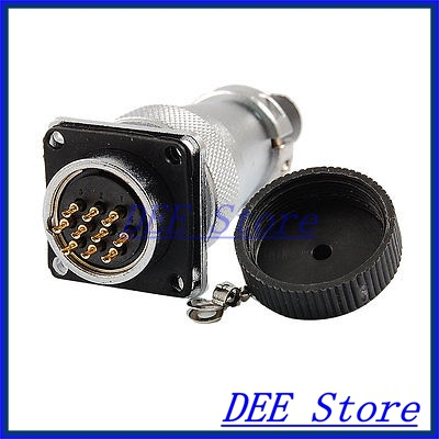 PLS24-10 10 Pins Aviation Circular Connector Adapter AC 250V 7A flange mount p28 7 core 7 terminal aviation circular connector