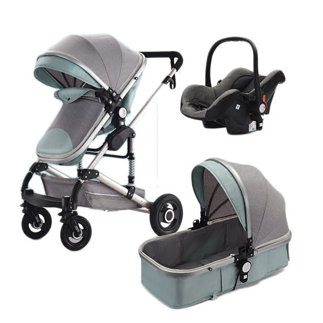 Teknum Stroller 3 In 1 High Landscape Baby Carriage With Car Seat Safety Basket Trolley